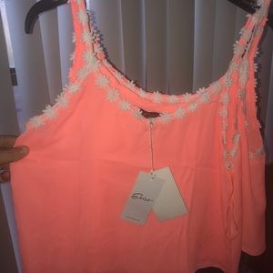 Hot coral color w flowers crop tops